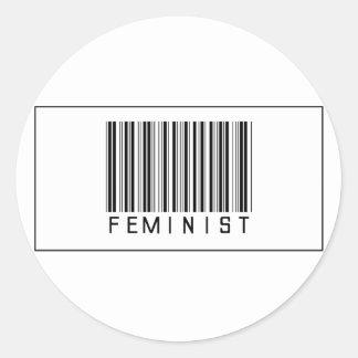 Barcode Feminist Round Sticker
