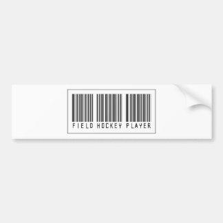 Barcode Field Hockey Player Car Bumper Sticker
