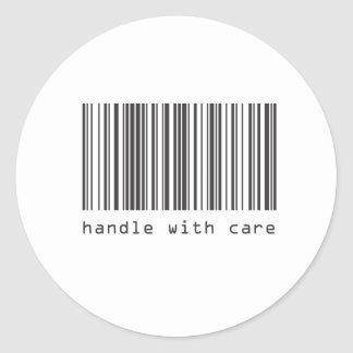 Barcode - Handle With Care Classic Round Sticker