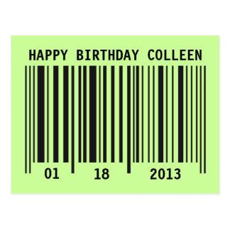 Barcode Happy Birthday postcard