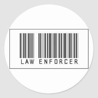 Barcode Law Enforcer Round Stickers