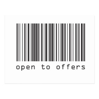 Barcode - Open To Offers Postcard