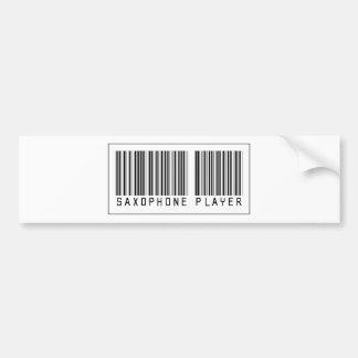 Barcode Saxophone Player Car Bumper Sticker