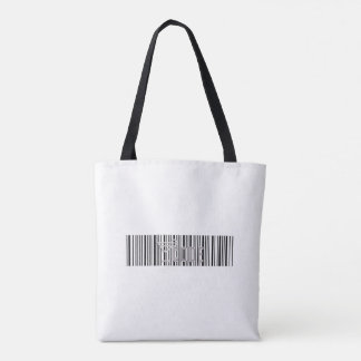 barcode style black and white tote bag