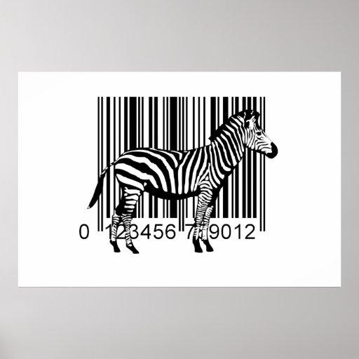 Barcode Zebra illustration Poster