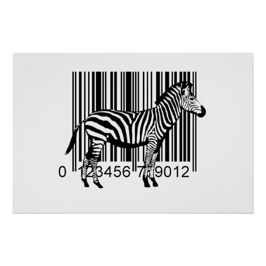Barcode Zebra illustration Poster