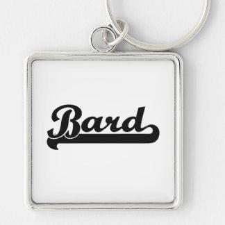 Bard Classic Job Design Silver-Colored Square Key Ring