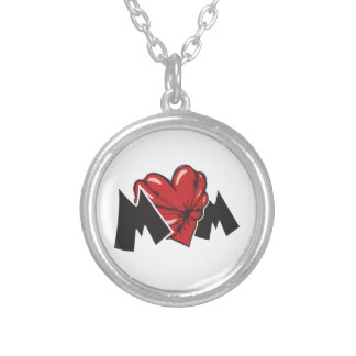 Barded Mom Heart Round Pendant Necklace
