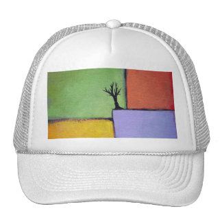 Bare tree colorful art all seasons modern painting cap