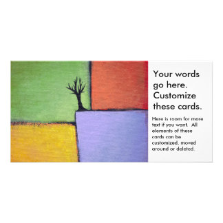 Bare tree colorful art all seasons modern painting picture card