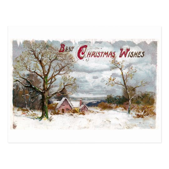 Bare Trees and Stormy Skies Vintage Christmas Postcard