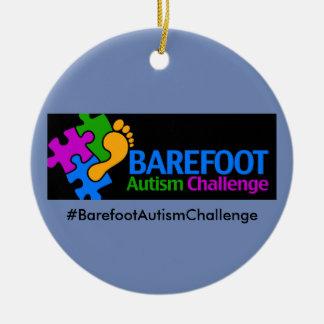 Barefoot Autism Challenge Circle Ornament