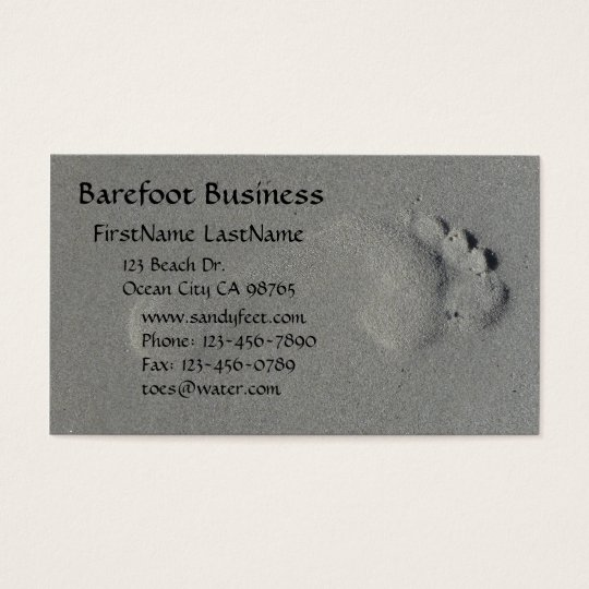 Barefoot footprint in sand photo business card