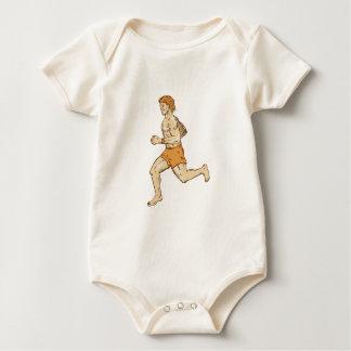 Barefoot Runner Running Side Etching Bodysuit