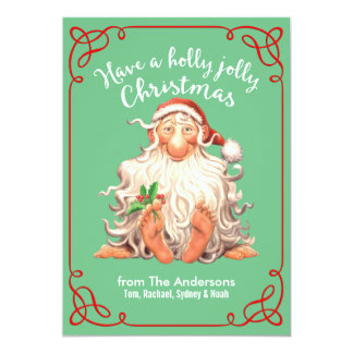 Barefoot Santa Holly Jolly Christmas Card