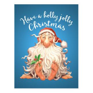 Barefoot Santa Holly Jolly Christmas Postcard
