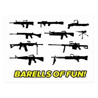 Barells of Fun- Gun design Postcard