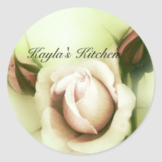 barely pink roses1 round sticker