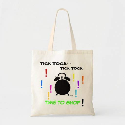 """BARGAIN TOTE-""""TICK TOCK-TIME TO SHOP"""" CANVAS BAGS"""