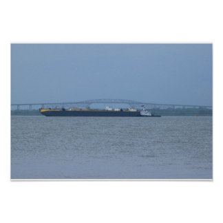 Barge with Bridge Photo Poster