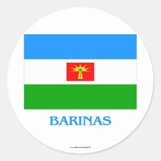 Barinas Flag with Name Round Sticker