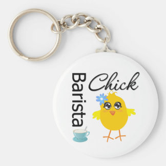 Barista Chick Basic Round Button Key Ring