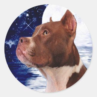Bark at the moom round sticker
