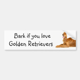 Bark if you love Golden Retrievers Bumper Sticker