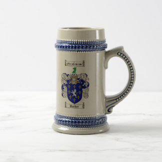 Barker Coat of Arms Stein / Barker Family Crest Beer Steins