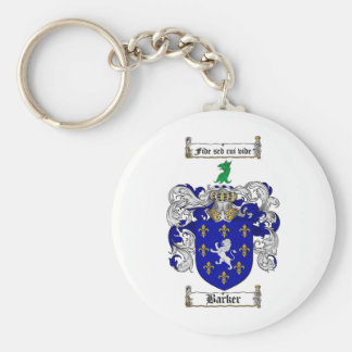 BARKER FAMILY CREST -  BARKER COAT OF ARMS BASIC ROUND BUTTON KEY RING