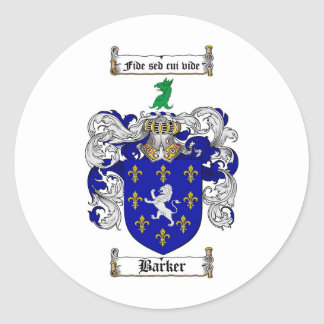 BARKER FAMILY CREST -  BARKER COAT OF ARMS ROUND STICKER