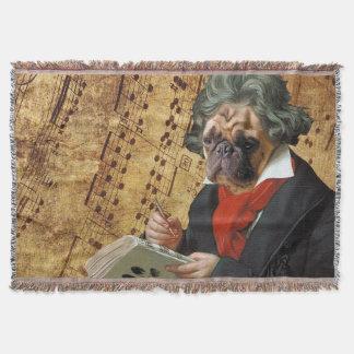 Barkthoven - the Beethoven pug Throw Blanket