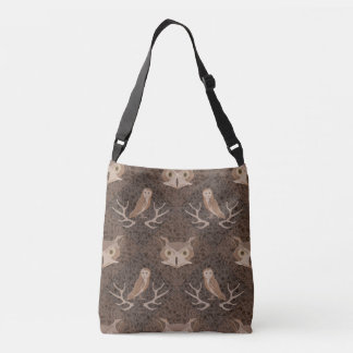 Barn and Hoot Owl Over a Brown Moss Pattern Crossbody Bag