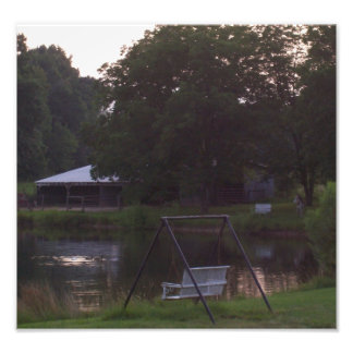 Barn and pond with animals art photo