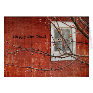 Barn and Tree New Year Greeting Card
