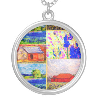 barn and wildflower collage round pendant necklace