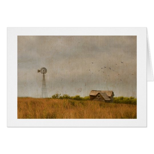 barn and wind mill photograph card