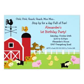 Barn Animal Fun Birthday Party Card