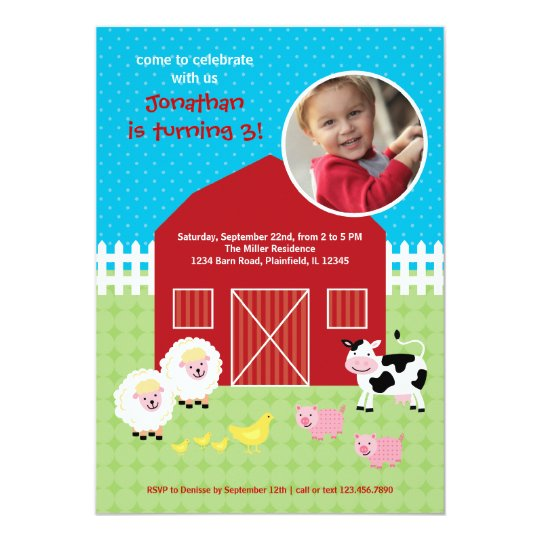 Barn Animals Birthday Photo Invitation