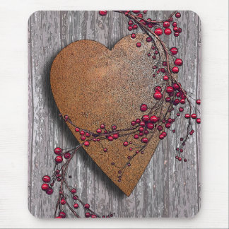 Barn Boards Rusted Heart Mouse Mat