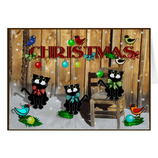 Barn Cat Christmas Card