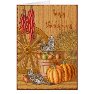 Barn Cats Happy Thanksgiving Notecard Greeting Card