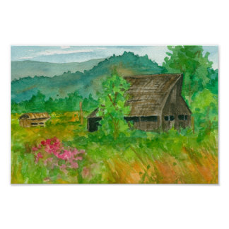Barn Country Landscape Sweet Peas Watercolor Art Poster