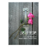 Barn Door and Pink Roses Wedding Small RSVP Custom Announcement