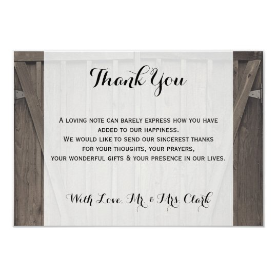 Barn Doors Thank you Card
