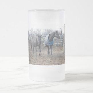 Barn Farm Horse Buddies Frosted Glass Mug