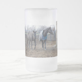 Barn Farm Horse Buddies Frosted Beer Mug