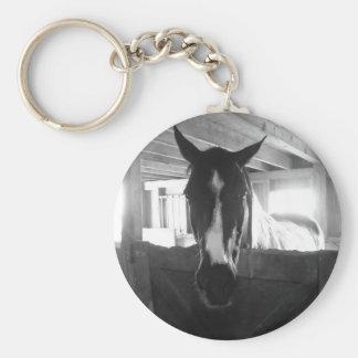 Barn Horse Basic Round Button Key Ring