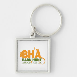 Barn Hunt Association LLC Logo Gear Silver-Colored Square Key Ring