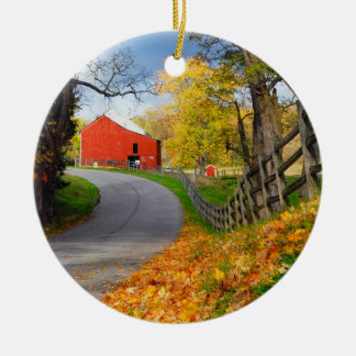 Barn in Fall Round Ceramic Decoration